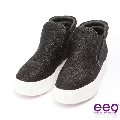 ee9~青春熱力~吸睛Style素面百搭閃亮炫光布休閒鞋*黑色