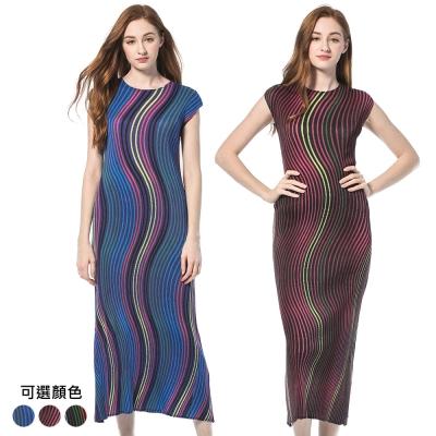 繽紛圓領無袖流線條紋壓摺洋裝(共三色)-玩美衣櫃