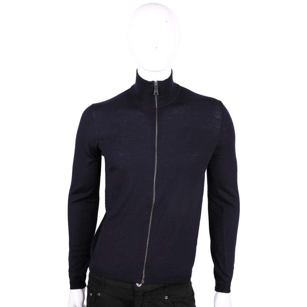 PRADA 深藍色羊毛拉鍊針織外套(男款/100%LANA VERGINE)