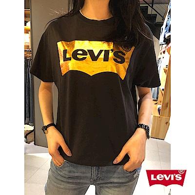 Levis 女款 短袖T恤 金色LOGO 黑色