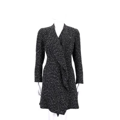 EDWARD ACHOUR PARIS 黑色荷邊下擺設計毛呢大衣外套