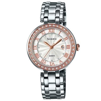 SHEEN經典華洛世奇水晶同心圓層次設計聯名錶(SHE-4034CSG-7A)30.5mm