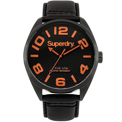 Superdry 極度乾燥休閒潮流時尚皮革手錶-黑/44mm