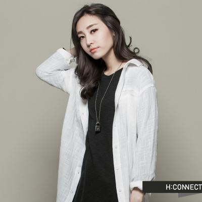 H:CONNECT 韓國品牌 CONNECT系列女裝-棉麻開岔長版襯衫-白(快)