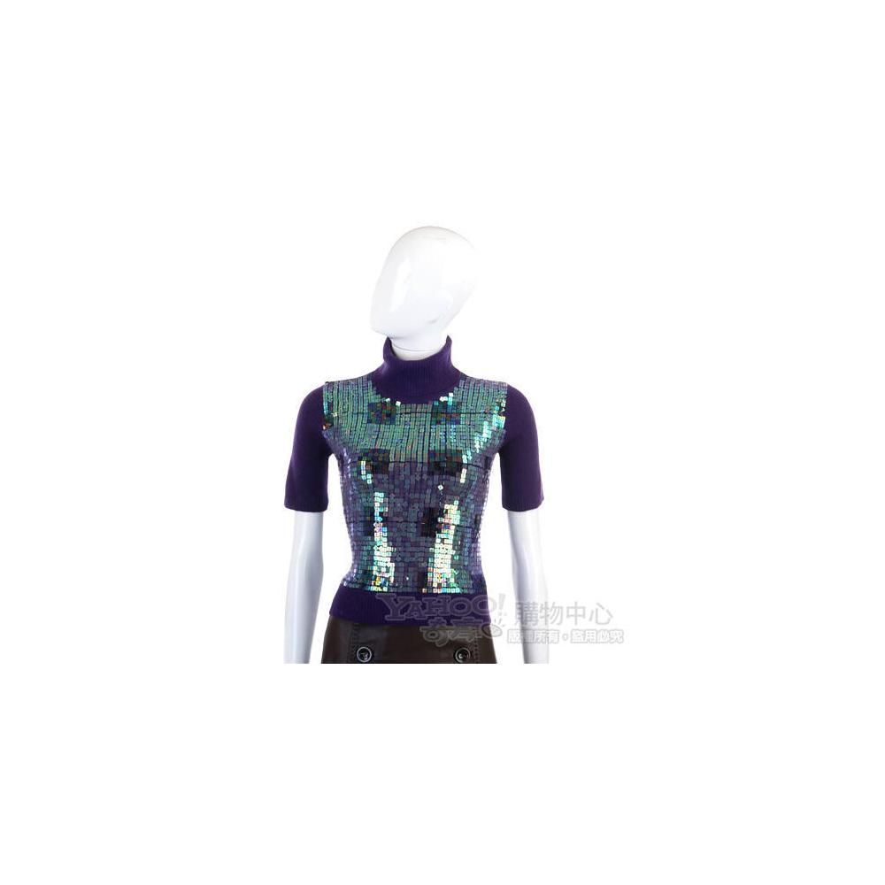 KAPALUA  紫色亮片綴飾高領毛衣