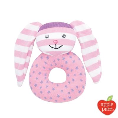 美國 Apple Park 農場好朋友系列 有機棉啃咬手搖鈴 - 嘻哈粉紅兔