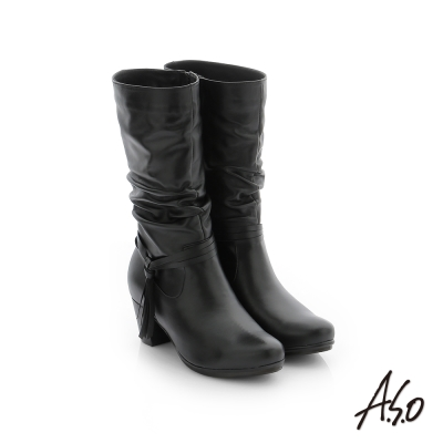 A.S.O 心機美靴 牛皮街頭風中筒靴 黑色