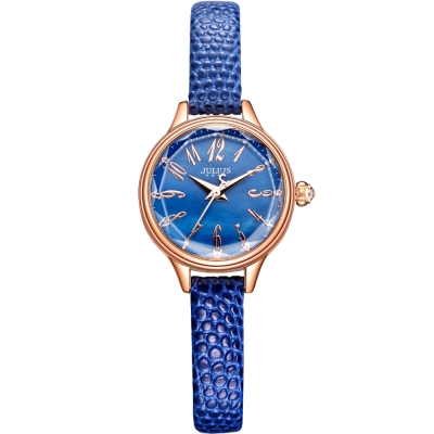 JULIUS聚利時 霓光序曲立體切割面皮錶帶腕錶-寶藍/24mm
