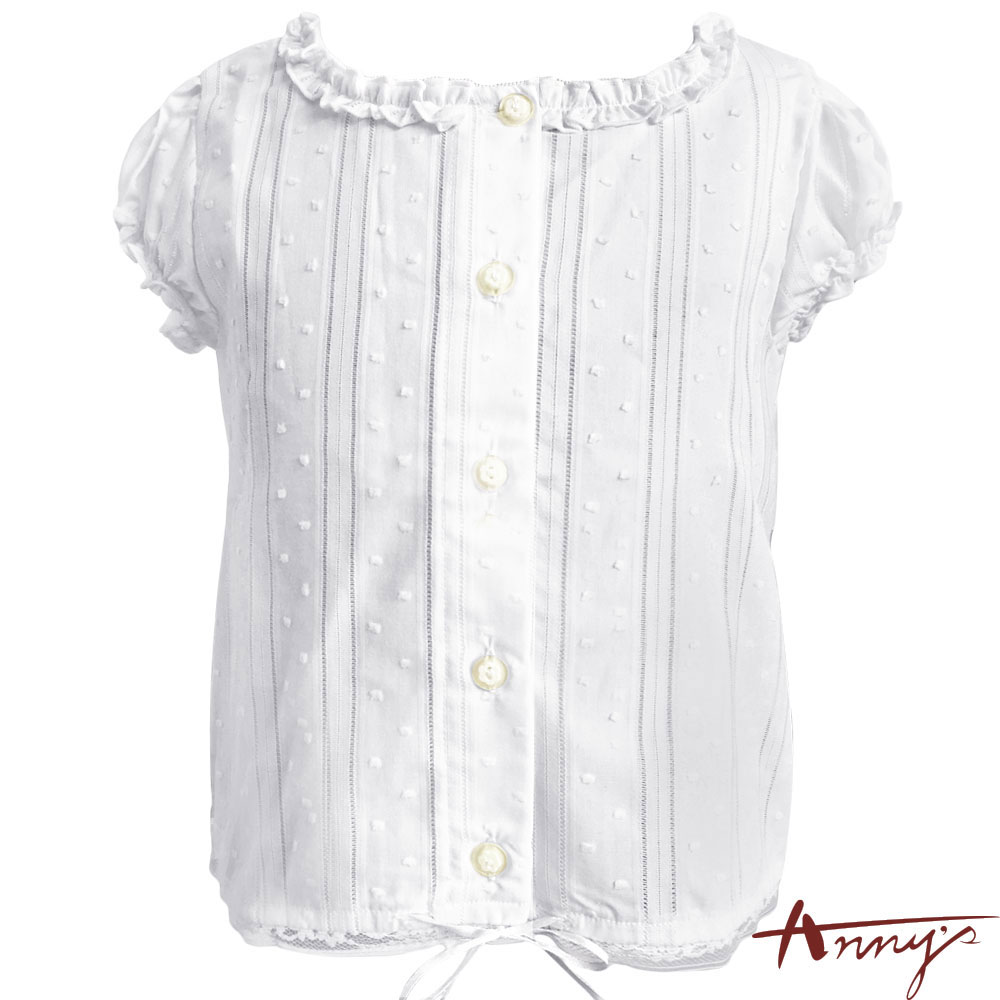 Annys甜美荷葉大園領公主袖點點壓紋上衣*0170白