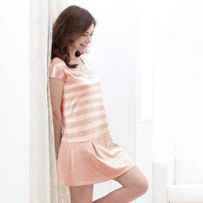 黛安芬-有機棉Bra-Top-短袖長洋裝款-M-EEL-條紋淺粉