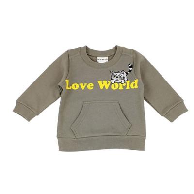 愛的世界 羅紋領浣熊大口袋束口長袖上衣-棕/1~4歲