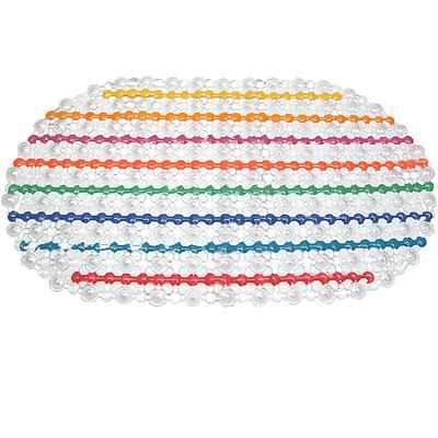 七彩條紋橢圓PVC防水防滑吸附腳踏墊(D011305)