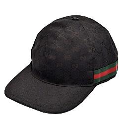 GUCCI 經典GG壓印帆布綠紅綠織帶飾邊棒球帽(黑)