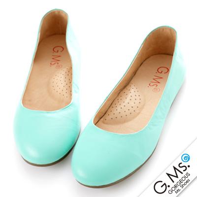 【G.Ms.】旅行女孩II‧素面全真皮可攜式軟Q娃娃鞋(附專屬鞋袋) ‧薄荷綠