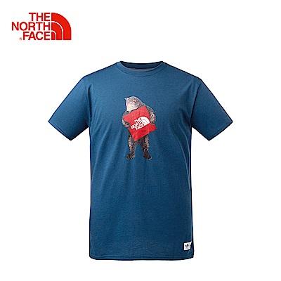 The North Face北面男款藍色舒適休閒短袖T恤