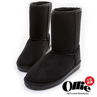 Ollie韓國空運-正韓製經典款布標增高中筒雪靴-黑