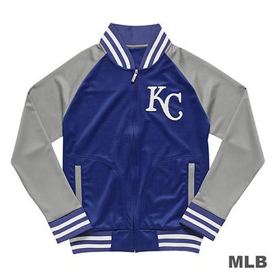 MLB-堪薩斯皇家隊毛巾布繡花薄棒球外套-藍 (男)