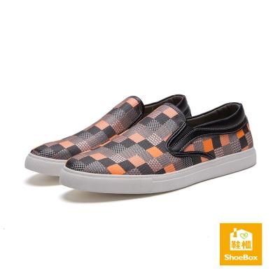 鞋櫃ShoeBox-男鞋-休閒鞋-繽紛格紋布面懶人鞋-彩色