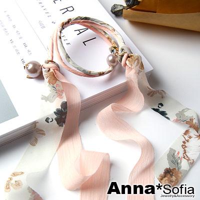 【3件5折】AnnaSofia 韓國花紋雪紡緞帶 盤髮棒盤髮器髮圈(粉白系)