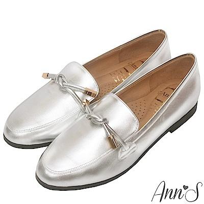 Ann'S知性文藝-雙結柔軟綿羊皮紳士平底鞋-銀