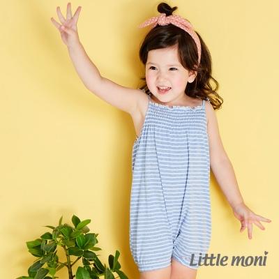 Little moni 清柔條紋細肩帶連身裝 亮天藍