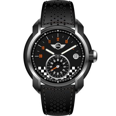 MINI Swiss Watches  賽車旗幟腕錶-黑/45mm