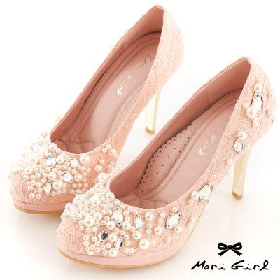 Mori girl璀璨奪目-寶石珍珠蕾絲婚鞋 粉