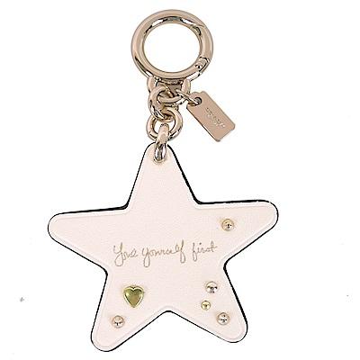 COACH 專櫃款星星造型鉚釘鑰匙圈(米白)