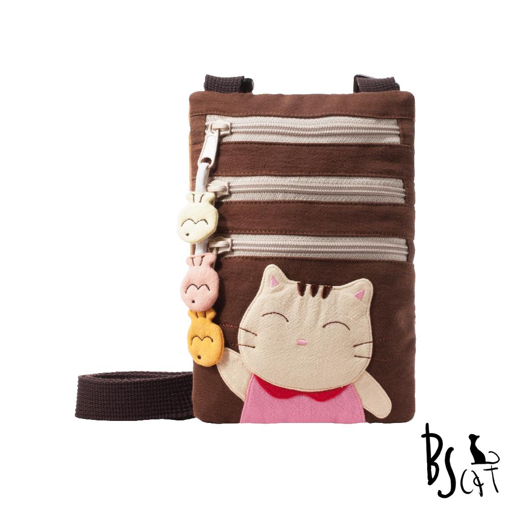 ABS貝斯貓 可愛貓咪拼布 郊遊隨身包 肩/斜背包 (咖) 88-195 @ Y!購物