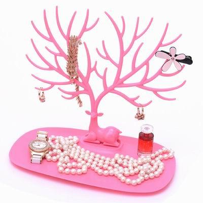 iSFun 鹿角樹枝 創意歐式飾品收納掛架 小號粉色25x23x15cm