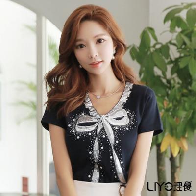 LIYO理優蝴蝶結印花V領上衣(深藍)