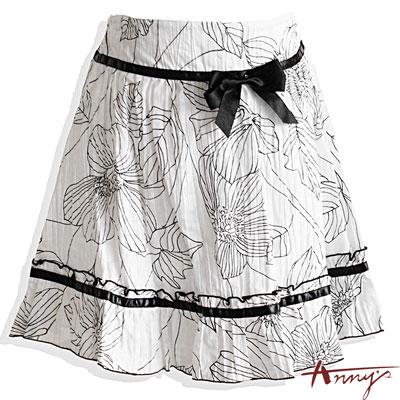 Annys氣質花瓣壓紋蝴蝶結緞帶裙*9166白
