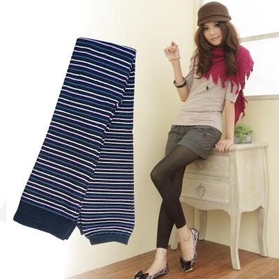 I-shi 丈青條紋銀蔥9分褲襪