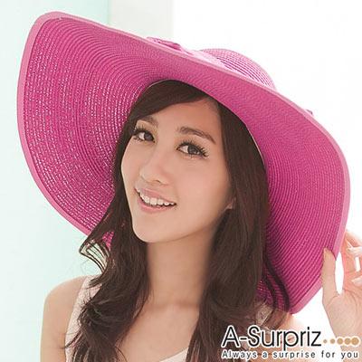 A-Surpriz 優雅蝴蝶結大帽沿遮陽帽(美姬桃)