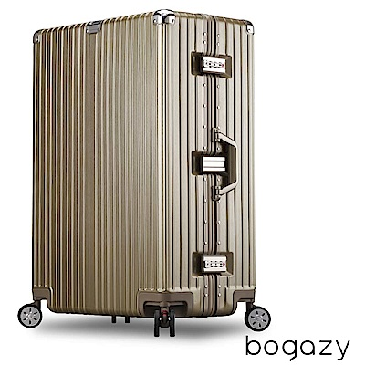 Bogazy 浪漫假期 29吋PC拉絲紋避震輪鋁框行李箱 (香檳金)