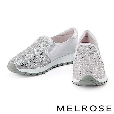 休閒鞋 MELROSE 異材質拼接獨特排鑽厚底休閒鞋-灰