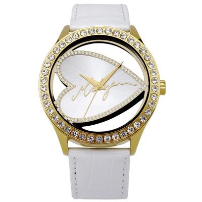 MORGAN 愛心晶鑽時尚腕錶-金x白/43mm