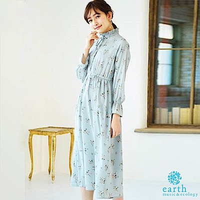 earth music 花朵圖案荷葉高領縮袖連身洋裝