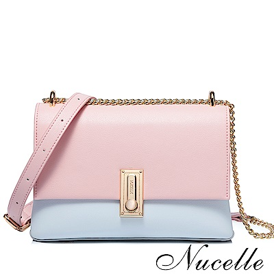 Nucelle 潔西卡撞色雙層鍊帶包 微粉藍