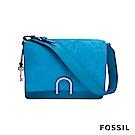 FOSSIL FINLEY 芬利雙格層麂皮柔軟真皮包-飽和藍