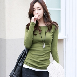 正韓 純色圓領長袖棉質T恤 (共六色)-N.C21