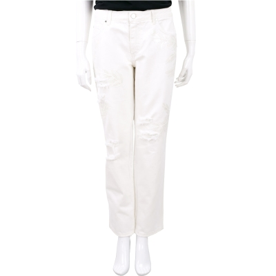 ERMANNO SCERVINO 白色縫製亮片圖騰刷破設計長褲