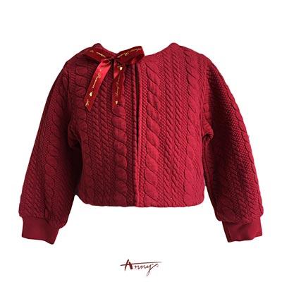 Anny高級浪漫荷葉壓紋彈性厚棉小外套*5414紅