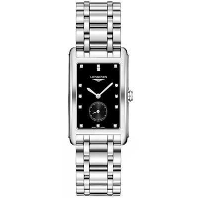 LONGINES 浪琴 DolceVita 小秒針真鑽石英女錶-黑/25mm