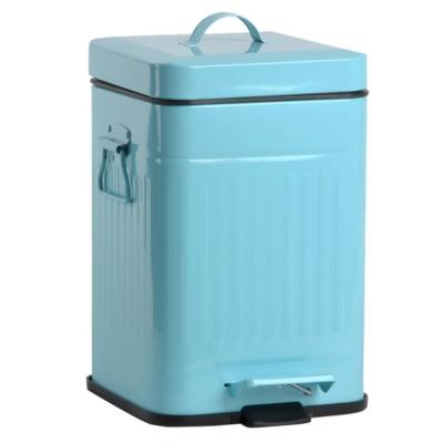 PUSH!居家生活 colourful液壓自動緩降垃圾桶12升 (天藍色I13)