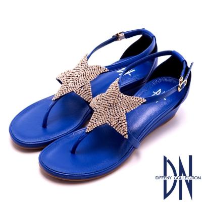 DN 舒適MIT 璀璨星星水鑽羊皮夾腳涼鞋~藍