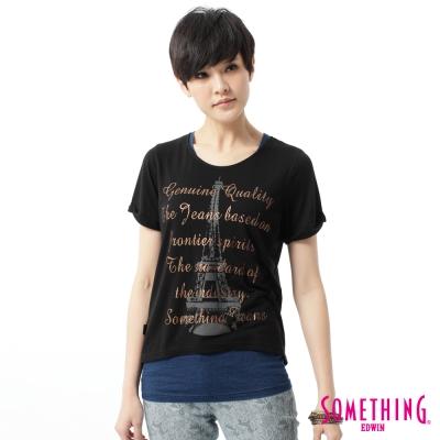 SOMETHING 立體印花T恤-女-黑色