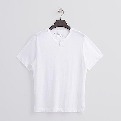Hang Ten - 男裝 - 有機棉 開口V領竹節T恤 - 白