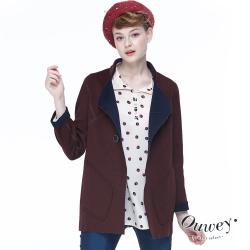 OUWEY歐薇 雙面穿高級毛料外套(紅/藍)