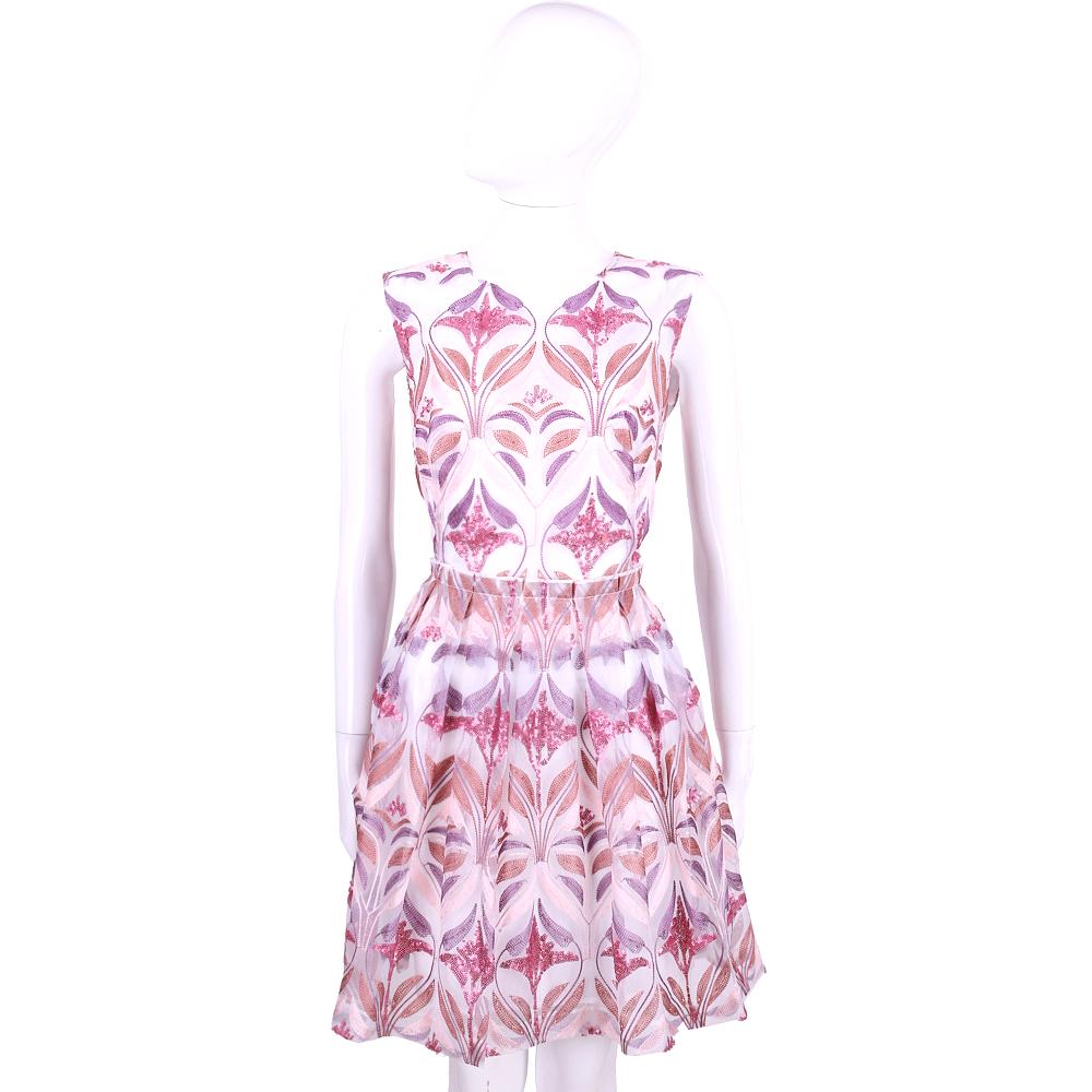 BLUGIRL 粉紫色亮片繡花無袖洋裝